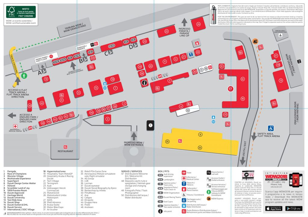 Mappa WORLD DUCATI WEEK Misano 2018